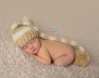 Newborn Elf Hat, Newborn Photo Prop, Stocking Cap, Mr Sandman Hat, Long Tail Hat, Newborn Pom Pom Hat, Neutral Hat, Brown And Tan Hat