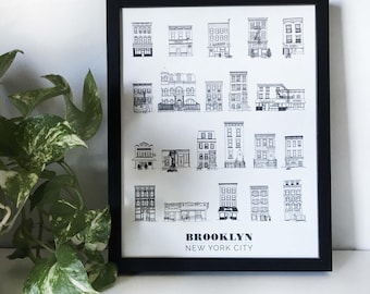 Framed Brooklyn Brownstones & House Illustrations 11x14in Print