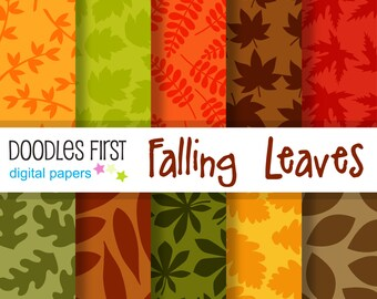 Falling Leaves Digital Paper Pack Includes 10 for Scrapbooking Paper Crafts