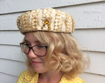 Vintage Jeweled Hat Neutral Ivory