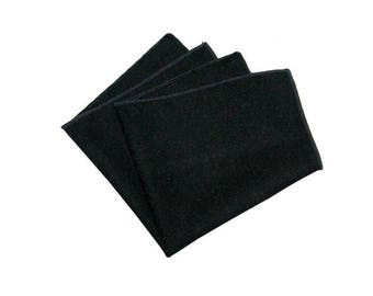 Black Wool Pocket Square.Black Wool Handkerchief.Wedding.Gifts