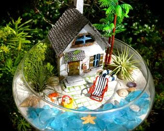 """Beachside Cottage Beach Terrarium Kit ~ 10"""" Bowl Air Plant Terrarium Kit ~ Coastal Living Beach Decor ~ Beach House + Chair ~ Sea Turtle"""