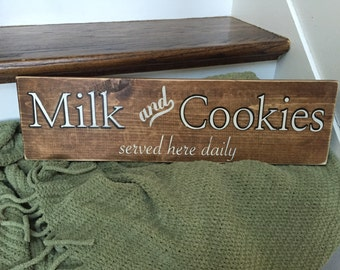 Milk and Cookies Vintage Style Hand Painted Wood Sign