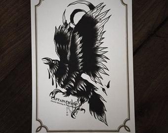 LIMITED Moon Crow - Tattoo print 50/50 signed