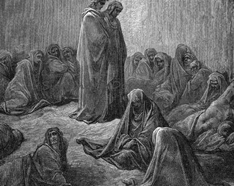 Envious Souls Canto 13 Purgatory Purgatorio Vintage Engraving Gustave Dore' Black & White