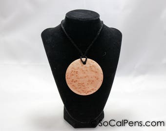 Birdseye Maple Wooden Pendant Necklace