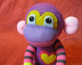 Franklin - Best Friend Sock Monkey Plush - Purple Stripes Pink - Handmade Doll