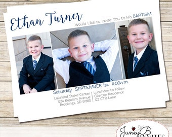 LDS Baptism Invitation Boy,  Modern Picture Invite, Boy Baptism Invite with Pictures,  Baptism Invite