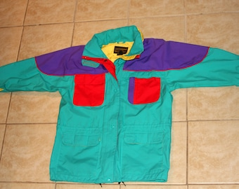 Eddie Bauer Gore Tex Bright Color Block Hooded Rain / Windbreaker Jacket Large Vintage 1990s
