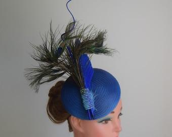 Blue two tone button Cocktail Hat  Wedding, Royal Ascot