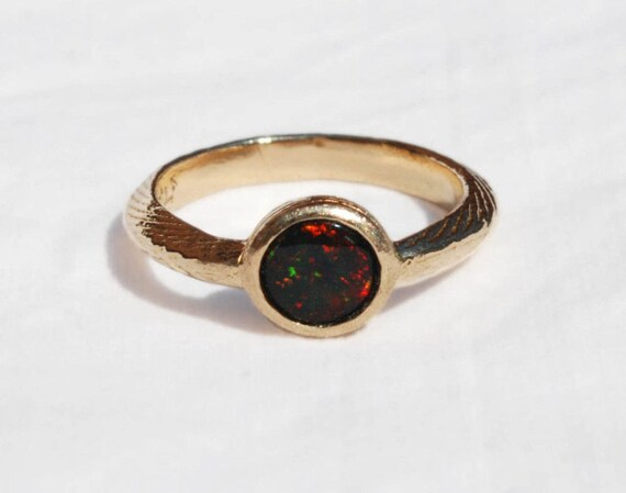 Solid Yellow Gold Cuttlefish Cast and Black Opal Solitaire Ring
