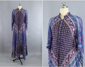 Vintage 1970s Indian Cotton Maxi Dress / ADINI / India Cotton Gauze Dress / Blue & Purple Floral Caftan