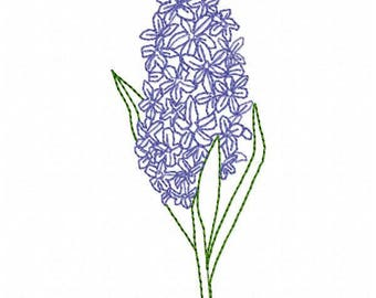 Hyacinth Flower Embroidery Design - Instant Download
