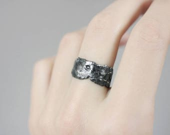 Meteorite ring Black ring Silver ring Asteroid ring Blackened silver Unique mens ring Travel gift Space ring Galaxy ring Gift for men