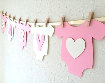 """Baby One-Piece Bodysuit """"BABY GIRL"""" Baby Shower Banner: Pink and White Baby Shower Decoration"""