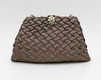 50s Brown and Gold Evening Bag - Vintage 1960s CFR Handbag Made in England