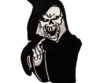 Grim Reaper Death Touch Patch Skull Biker Skeleton Embroidered Iron On Applique