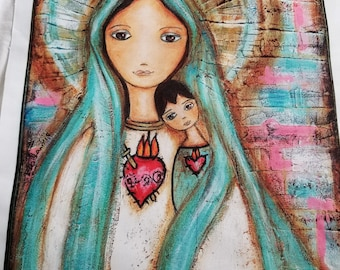 Immaculate Conception with Child - Large Print on Fabric  (16 x 20 inches) by FLOR LARIOS