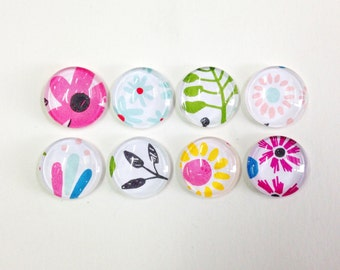 NEW - Flowers In Bloom - set of 8 glass magnets- fun, colorful floral patterns