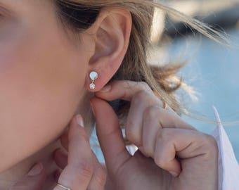 Cz dangle gold studs, cubic zirconia gold earrings, Dainty earrings, Tiny earrings, Delicate earrings