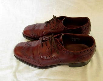 Mens Brown Leather Wingtip Derby Open Lacing Brogues Shoes Sz 6 UK / 6 1/2 US Used Condition Made in United Kingdom