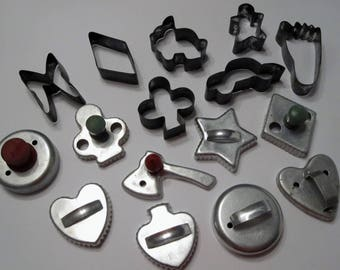 Set of 16 Vintage Cookie Cutters Aluminum Tin