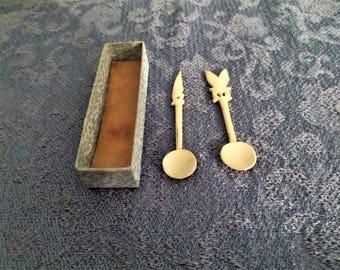 Antique Carved Salt Spoons