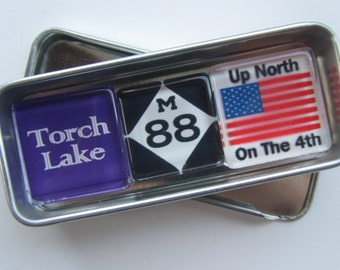 TORCH LAKE, Charlevoix, Alden, Bellaire, Up North, Michigan Magnets Set, Northwest Michigan Souvenir