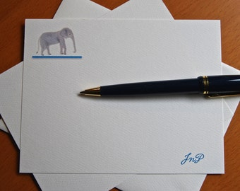 Elephant, Personalized Cards, Set, Children's Notes, Zoo Wildlife Theme, Save the Elephants, Thank You, Party Invitation, Africa, India,