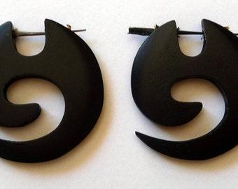 Earrings piercing spiral organic ebony wood Spiral Organic Wooden Earrings