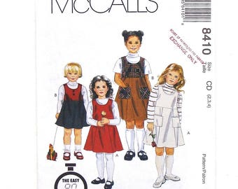 McCall's Toddler Pullover Jumper Sewing Pattern #8410 - Size 2+3+4 (Breast 21+22+23) - UNCUT Factory Folded