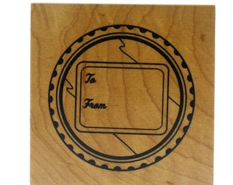 Inkadinkado Canning Jar Lid Label To From Gift Tag Wooden Rubber Stamp