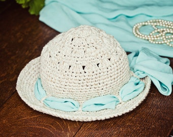 Crochet PATTERN - Linen Sun Hat (baby to adult)