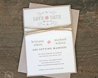 Rustic Twine Wedding Save the Date - Rustic Save the Date - Save the Date with Twine Wrap - Save the Date with Kraft Envelopes