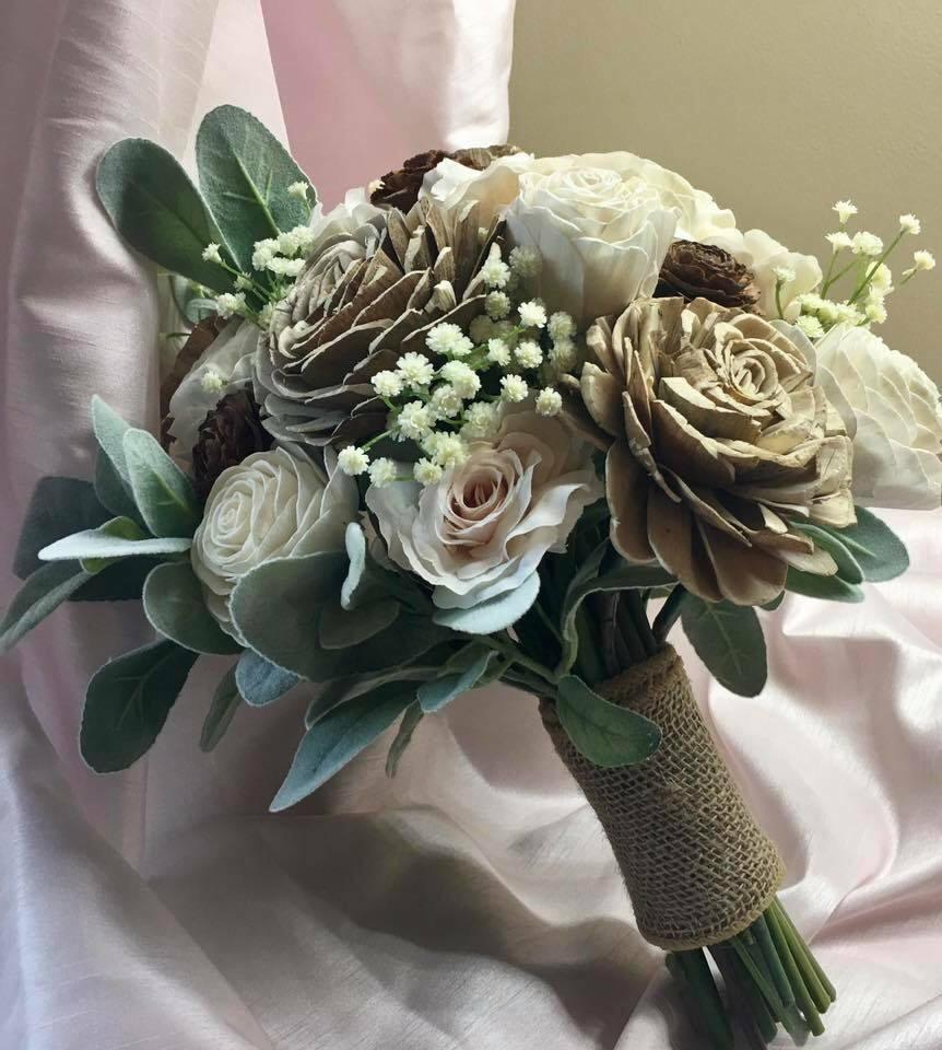 Sola Flower Rustic Bridal Bouquet With Cedar Roses Silk