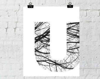 u monogram letter decor, Scandinavian design, black and white photography, minimalist tree branch art, instant download- Adoption Fundraiser