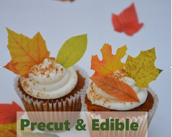 Fall Leaves Cupcake Topper, Cake Topper, Autumn Leaves cupcake, edible leaves,  Fall cake topper, Fall birthday,  precut, Edible image