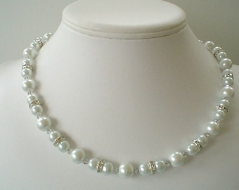 One Strand Bridal Elegance White Pearl Rhinestone and Swarovski Beaded Necklace Set