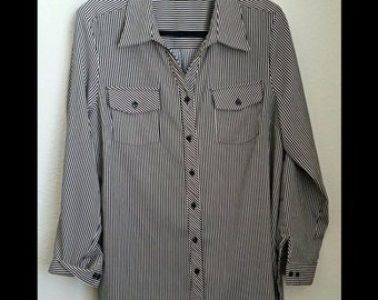 90S Tan and Black Striped Long Sleeve Shirt