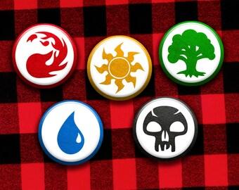 Magic the Gathering Mana Symbols Pinback Button Set