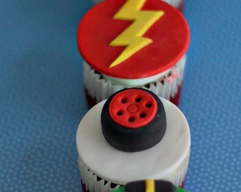 Fondant Car, Roadway, Tires and More Toppers for Cupcakes, Cookies or other Treats