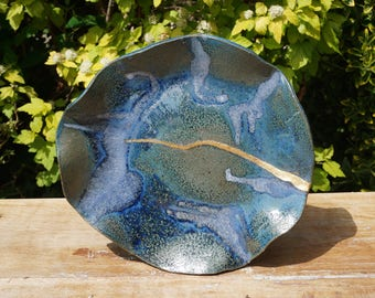 Large decorative ceramic plate,turquoise, blue and gold, handmade circa 1980.