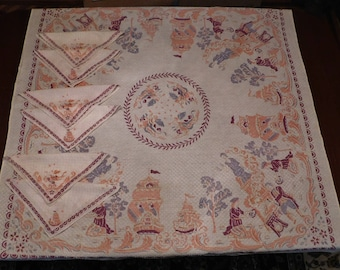 vintage TABLECLOTH and napkins SHIPS square 48 x 48 inches