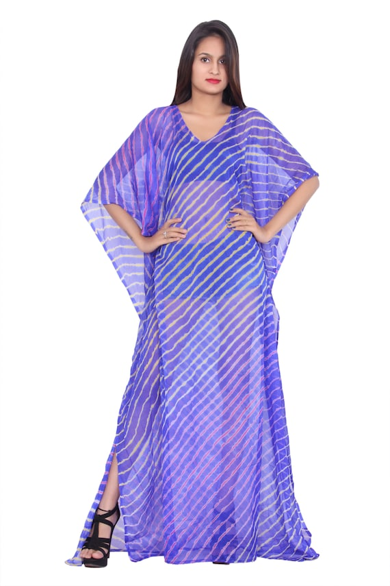 Indian Lahariya Print embellished caftan dress Blue Caftan