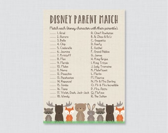 Woodland Baby Shower Disney Parent Match Game - Match the Disney Characters with their Parent - Printable Woodland Baby Shower Game - 0010