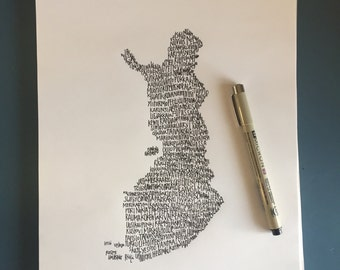 Typography Print. Handwritten. Art. Country Art. Finland Art. Finland cities and towns. 8.5 X 11. Finland Wall Art. Finland Unique Gift
