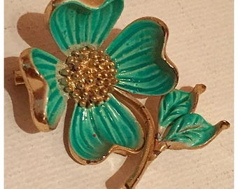 Dogwood Flower Brooch, Seafoam Green, AquaGreen Dogwood Flower Brooch, Flower Pin