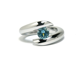 Unique Blue Topaz Tension Ring in Stainless Steel