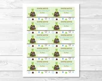 Cute Turtle Frog Diaper Raffle Tickets / Turtle Baby Shower / Frog Baby Shower / Baby Shower Raffle / Printable INSTANT DOWNLOAD A235