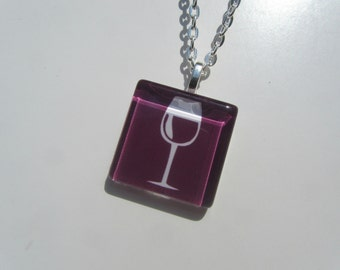 Wine Glass Pendant Necklace with Silver Chain, Wine Lover Gift, Wine Pendant, Wine Necklace, Wine Jewelry, Wine Glass Pendant Necklace